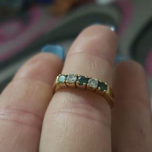 Vintage Emerald/CZ 14k g.f. ring